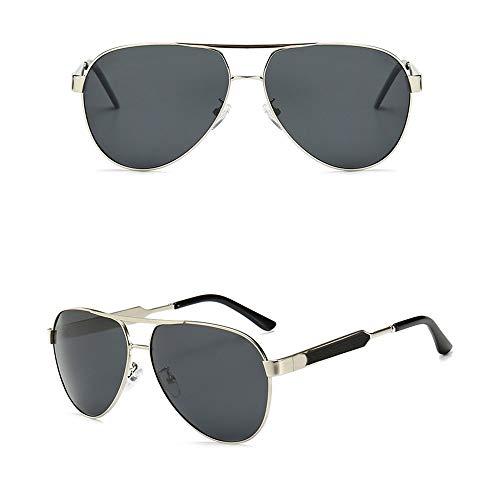 FANCYKIKI Nachtsicht-Sonnenbrille, Mode polarisierte Sonnenbrille für Männer Frauen Vintage High-End-Sonnenbrille für Reisen im Freien (Farbe : Silver frame/black)