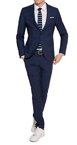 Michaelax-Fashion-Trade Slim Fit - Herren Baukasten Anzug aus reiner Schurwolle, Marke: Lanificio Tessile d'Oro, Jasper/Lux (CMP-9999-6730), Größe:46, Farbe:Royal Blau
