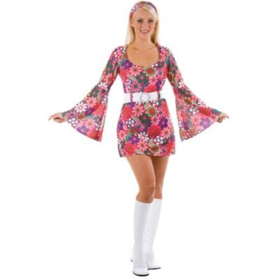 wicked FLOWER HIPPIE RETRO GO GO GIRL 60S AND 70S FANCY DRESS COSTUME