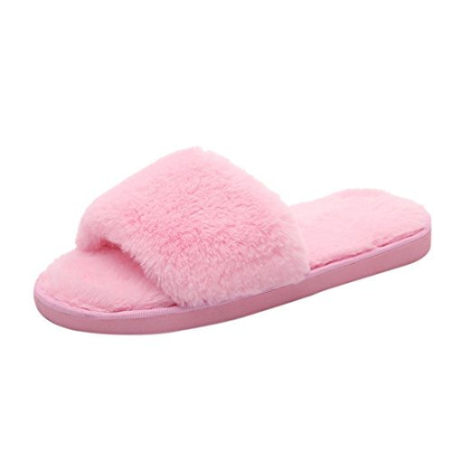 Da donna scivolare su pelliccia fluffy faux slipper piatto (rosa, 38)