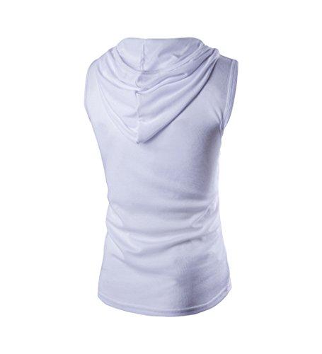 Herren Slim-Fit T-Shirt Basic V-Ausschnitt Shirt Sweatshirts Ärmelloses Unterhemd Kapuze Tops Weiß