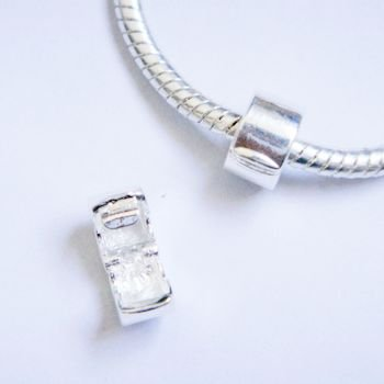 Silver Polished Clip Lock Stopper Bead Charm by Charm Outlet