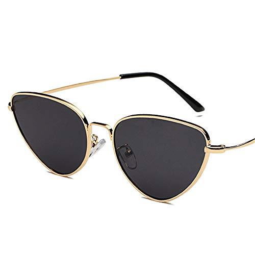 SUMHOME Polarisierte Metallrahmen Cat Eye Sonnenbrille Retro Europa und Amerika Sonnenbrille Sonnenbrille Ocean Sheet Brille, schwarz