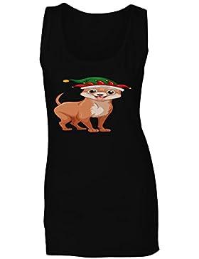 Regalo divertido de la sonrisa del perro de la Feliz Navidad camiseta sin mangas mujer g919ft