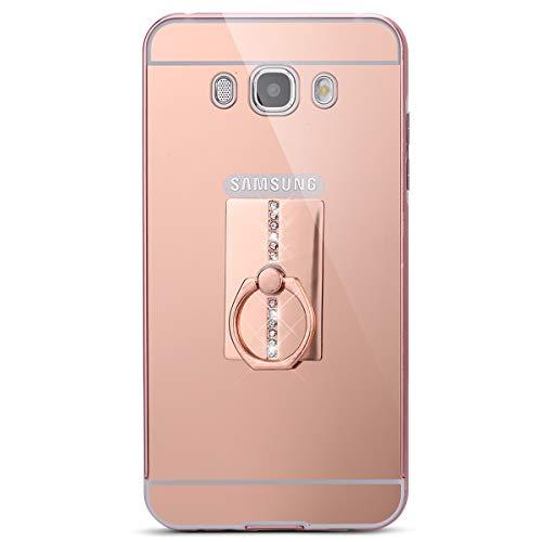 Surakey Cover Samsung Galaxy J5 2016, Specchio Plastica Rigida Cover con Anello Supporto Bling Strass Glitter Diamante Lusso Hard Case Ultra Sottile Custodia per Galaxy J5 2016,Rettangolo Oro Rosa