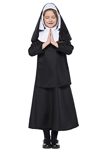Kostüm Katholische Nonne - Halloween Nonnen Nuns katholische Nonne religiös Outfit Cosplay Kostüm für Kinder Mädchen Schwarz S