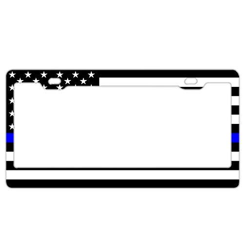 Custom Auto Frames Autokennzeichenrahmen, personalisierbar, Motiv: Police Pride Autokennzeichenhalter, Aluminium Metall, Unisex, Black and White American Flag with Thin Blue Line