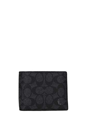 COACH Men's Compact ID Wallet In Signature Canvas Charcoal One Size