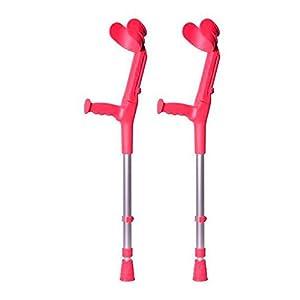 Pack von 2 unterarm-Gehstützen Krücke BCR-N für Kinder | Aus Aluminium | Zweifach regulierbar (in Höhe und Ellbogen) | korallenrote Farbe