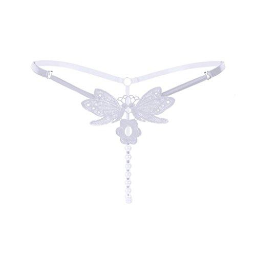 FEITONG Spitze Perlen Low-Taille Strings Nahtlose Panties Slips Erotik Unterwäsche Damen by (Freie Größe, F) - Taille Perlen