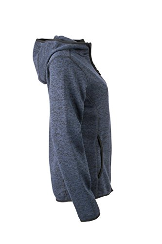 James & Nicholson Damen Sweatshirt Fleece Ladies'Knitted Fleece Hoody Denim-Melange/Black