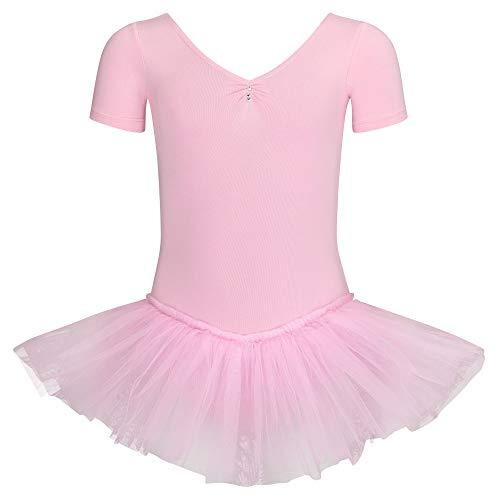 tanzmuster Kinder Ballett Tutu Nele - süßer Kurzarm Ballettbody mit Tuturock und Glitzersteinen in rosa, - Unheimliche Kostüm Mädchen
