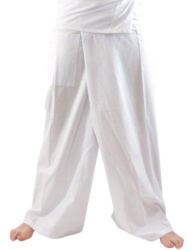 Bequeme Thai-Fischerhose/Yogahose aus Baumwolle, die durch ihre Wickeltechnik für einen Taillenumfang von 80 - 120 cm geeignet ist. Bei einer Körpergröße von 175 cm reicht diese Hose etwa bis zum Knöchel. Traditionell wird diese Hose ca. 10 cm über d...