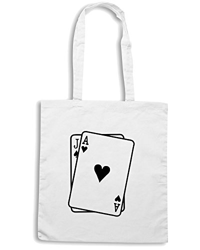 T-Shirtshock - Borsa Shopping FUN0814 blackjack decal 10588 Bianco