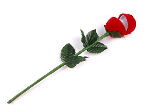 Blumen-rocker Kissen (Bishilin Ringschatulle Rose Kopf mit Lange Stiel Langstielige Blume Schmuckschachtel Ringetuis Ringbox Ringschachtel Verpackung für Eheringe/Verlobungsring/Valentinstag 1 Pcs)