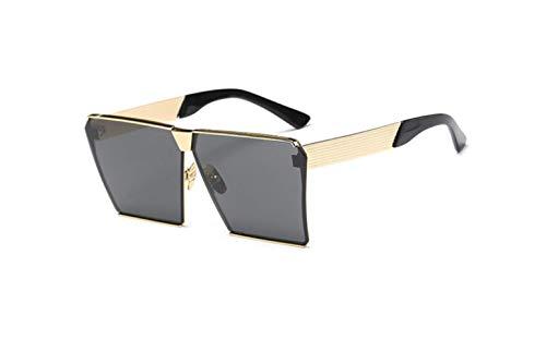 liwenjun Sonnenbrille quadratisch Rahmen aus Metall farbig Persönlichkeit Sonnenbrille, große Visier Polarisation Gold Rahmen Schwarz Pezzo Grau