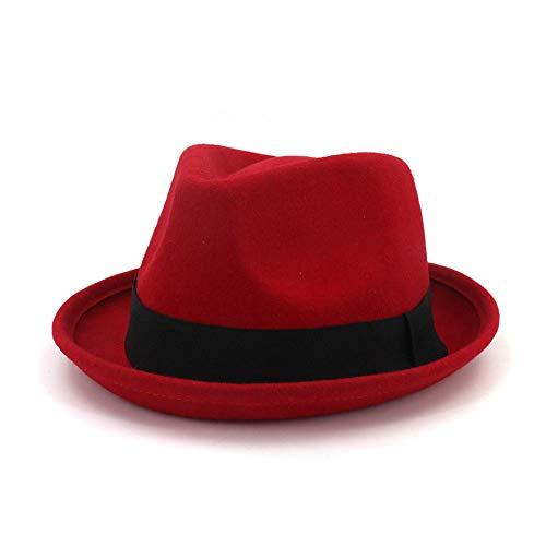 Fucaiqian Mütze, 100% Wolle, aufrollbare Krempe, Fedora-Gangs, breitkrempe, Schwarze Träger, Fedora-Hut, britischer Hut, Patenvater, Kirche, Jazz-Hut, rot, 55-58 cm