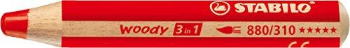 Stabilo woody 3 in 1 matitone colorato colore rosso carminio  - confezione da 5