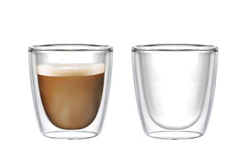 Doppelwandige Thermo-Gläser | 2 x 250ml große Tassen mit Schwebeeffekt für Tee, Milch-Kaffee, Latte Macchiato, Cappuccino. Das Glas / die Becher sind Handarbeit in höchster Qualität