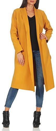 Malito Damen Mantel lang mit Wasserfall-Schnitt | Trenchcoat mit Gürtel | weicher Dufflecoat | Parka - Jacke 3050 (gelb)