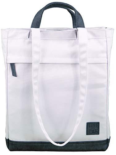 UNR!VALED TOTEPACK Daypack Rucksack Tasche 2 in 1 HELL-GRAU Handtasche Büro-Tasche Damen Shopper Umhängetasche Tote-Bag Wickelrucksack A4 Uni Schule -
