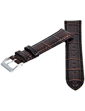 Uhrenarmband Leder Dunkelbraun Kroko Prägung Naht 18-20-22mm Armband Uhr Band 20mm Silber