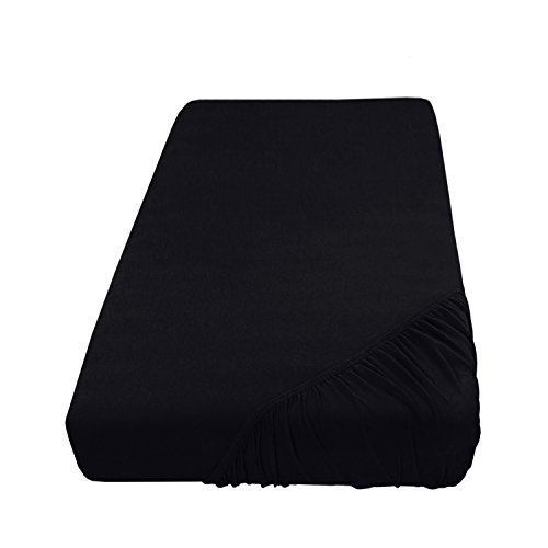 Jersey Spannbettlaken Leintuch Spannbetttuch - in Allen Farben und Größen - 100% Baumwolle Schwarz 90-100 x 200 cm