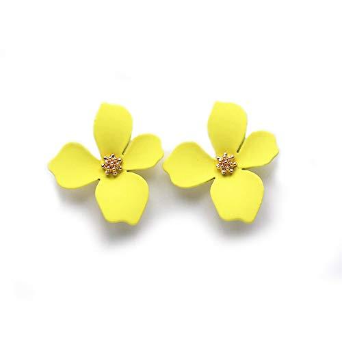 EXINOX Pendientes de Flores | Mujer | Elegantes Pendientes Primavera Verano (Amarillo)