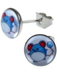 81c9ce3429ed Joyas de señores par de Pokemon ratón Marill satélite de acero inoxidable  de 8 ...