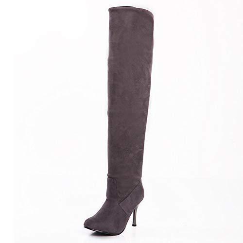 Gesteppte Faux Leder Schuhs (Winter Frauen Lange Stiefel Faux Wildleder Über dem Knie Sexy Oberschenkel High Heels Stretch Lässige Warme Schuhe Für Damen)