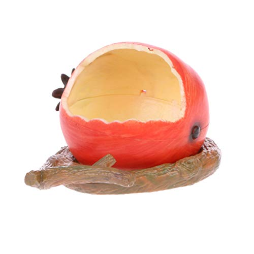 CADANIA Comedero para pájaros Bebedero Agua Comida Tazón Dispensador Recipiente para Mascotas Forma de Fruta - Granada