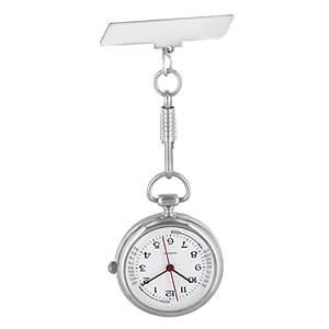 Pacific Time Schwesternuhr Krankenschwesteruhr Pulsuhr Kitteluhr Pflegeuhr Nurse Watch Analog Quarz silber hochglanz 20655