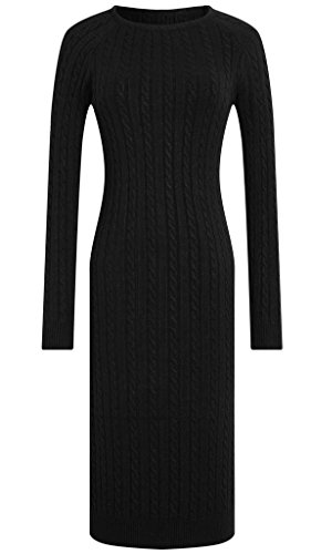 Vogueearth Donna's Lungo Manica Crew Neck Slim-Fit Elasticity Knit Maglieria Sweater Vestito Pullover Nero