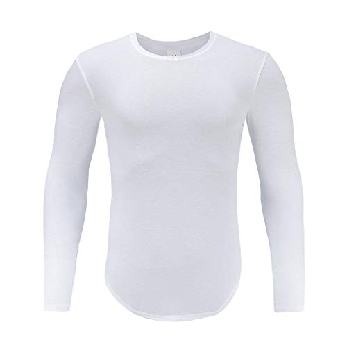 Xmiral Herren T-Shirt Top Lässige Kleidung Solide Langarm Pullover Pure Slim Bottoming Sweatshirt(M,Weiß)