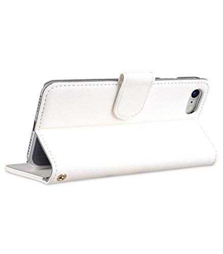 Apple Iphone 7 Melkco Elite-Serie Premium Leder-Snap zurück Tasche Tasche mit Premium-Leder Handgefertigte gute Schutz, Premium Feel-Tan Weißes Kreuz Muster