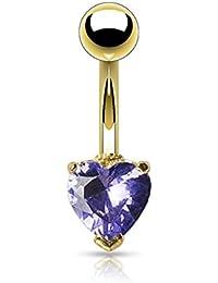 PiercedOff Piercing para el ombligo bañado en oro de 14K, diseño de corazón de 6 mm de tanzanita