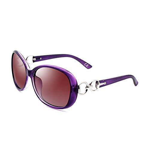 BLEVET Klassisch Groß Damen Sonnenbrille Polarisiert 100% UV-Schutz (Purple Frame Gradient Brown Lens)