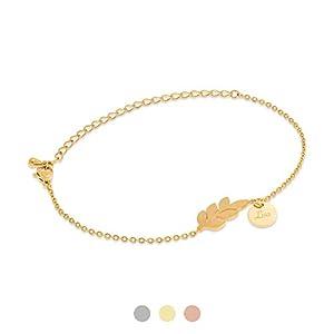 Armband Blatt mit Gravur Namen | Silber Gold Rosegold | Personalisierte Geschenke | Individuelle Wunschgravur…
