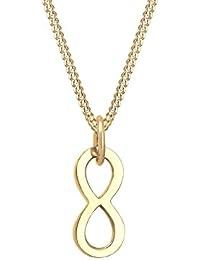 Elli PREMIUM Damen Halskette Infinity Unendlichkeit Symbol 585 Gelbgold 0108971617_45
