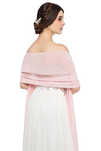 JAEDEN Stola Chiffon Schal für Brautkleid Abendkleider Ballkleider Hochzeitskleider in verschiedenen Farben 45cmx220cm Pink