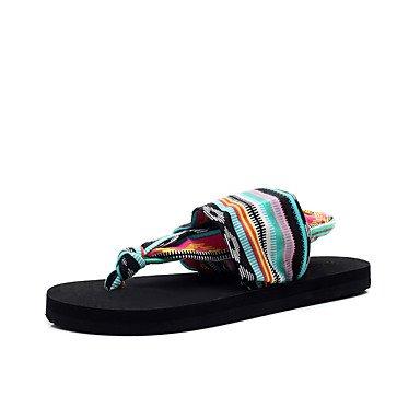 RTRY Donna Sandali Comfort Suole Leggero Tessuto Di Cotone Estate Abbigliamento Casual Tacco Piatto Rainbow Piatto Nero US5.5 / EU36 / UK3.5 / CN35
