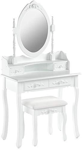 tectake Coiffeuse Meuble Table de Maquillage | avec Miroir + Tabouret | 4 tiroirs | Blanc