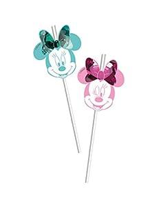 Procos pajitas con figura de Metallic Minnie Party Gem, Multicolor, 5pr88984