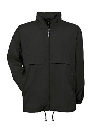 Giacca leggera uomo b&c k-way antivento impermeabile traspirante con cappuccio, colore: nero, taglia: l