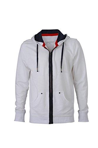 James & Nicholson Herren Urban Sweat Sweatshirt, Weiß (White/Navy), Small Preisvergleich