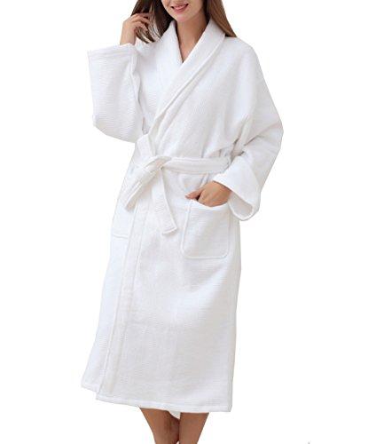 Accappatoi In Cotone Da Donna Winter Waffle Autunno Dress 100% Cotone Imbottito Comfort Yukata Spring Pink White White