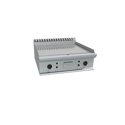 Fry Top à gaz à meuler Plaque lisse en acier douce poli avec 2 zones indépendantes – Dim. CM 70 x 70 x 27H
