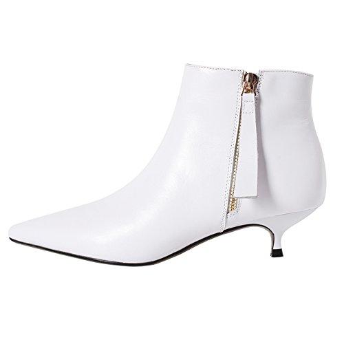VOCOSI Damen Klassische Stiefeletten Kitten Heel Closed Pointy Zipper Leder Booties White 41 EU