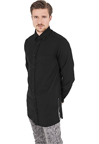 Urban Classics Herren Freizeithemd Side-Zip Long Checked Flanell Shirt Schwarz (Blk/Blk 00017)
