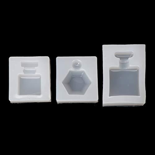 ♥Chuance Silikonform Gießform Resin Form 3 Stücke Parfüm Flasche Silikon Epoxidharzform Anhänger Süßigkeiten Schokolade Kuchenform